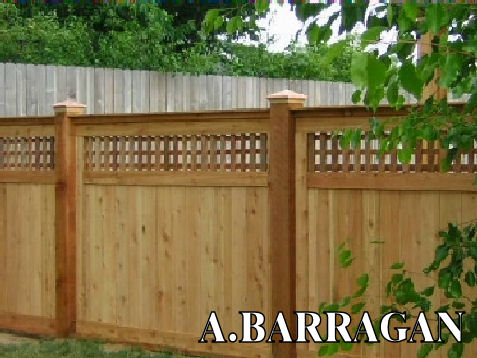 Top threllis redwood fence